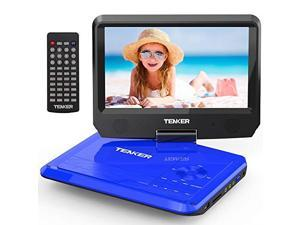 95 Portable DVD Player with Swivel Screen Rechargeable Battery and SD Card Slot USB Port Blue