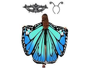 Wings Shawl Halloween Costume Ladies Cape Lace Mask Antenna Headband