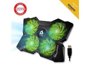 Wind Laptop Cooling Pad Support 11 to 19 Inches Laptops PS4 4 Fans Light Quiet Rapid Cooling Action Ergonomic Ventilated Support Gamer USB Slim Portable Gaming Stand Green