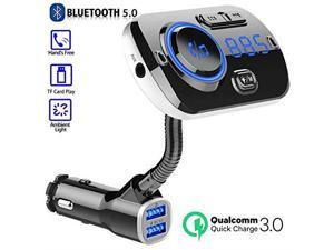 Bluetooth 50 FM Transmitter Dual USB Charger Wireless Bluetooth Radio Adapter Transmitter QC 30 Fast Charge Support TF d AUX Port