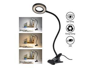 Clip Light Reading Lights  24 LED USB Book Clamp Light with 3 Color Modes 10 Brightness Dimmer and Auto Off Timer Eye Protection Kids Desk Lamp 360 Flexible Gooseneck Bed Night Light