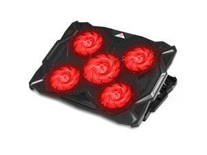 PCCooler Laptop Cooling Pad 5 Quiet Fans Laptop Cooler, Support Up to 17.3 Inch Heavy Duty Notebook, Laptop Cooling Stand with LED Light for Gaming, Office, Work from Home (RED)