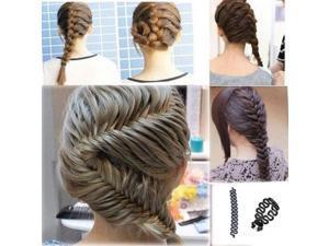 Women Lady French Hair Braiding Tool Braider Roller Hook With Magic Hair Twist Styling Bun Maker Hair Band Accessories