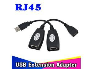 USB 2.0 Extension Cable Adapter USB Extender Up to 150ft for CAT5 CAT6 RJ45 LAN Network Ethernet USB2.0 Repeater Cables