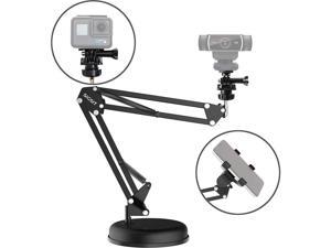 SIGSIT Desktop Webcam Stand Suspension Boom Scissor Arm Stand with Base for Logitech Webcam C922 C930e C930 C920 C615, Gopro Hero 7/6/5/4 and Cellphone