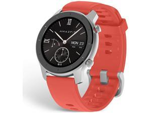 Amazfit GTR Smartwatch, Classic Design, 24/7 Heart Rate Monitor, Music Control, GPS+GLONASS Enabled, 10-Day Battery Life, 12-Sport Modes, Water Resistant, 42mm, Coral Red
