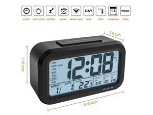 Digital Alarm Clock, Backlight LCD Morning Clock Travel Alarm Clock with 3 Alarms Thermometer Calendar Large Display Smart Nightlight Soft Light Snooze, Battery Operated with USB Charger