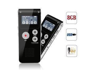 Digital Voice Activated Recorder USB Rechargeable 8GB Sound Audio Recorder Dictaphone for Lectures Meetings With Double Microphone Noise Reduction Audio Sound Portable Mini Tape Dictaphone MP3