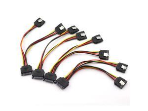 4PCS SATA 15-Pin Power Adapter Line SATA 15 Pin Male to 2 SATA 15 Pin Female Power Extension Cable Splitter SATA to SATA Connector