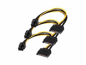 Werleo SATA 15 pin to 6 Pin Power Cable 3-Pack 15 pin SATA to 6 pin pci Express power Adapter cable - 8 Inch