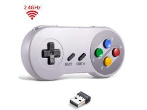 2.4 GHz Wireless USB Controller Compatible with Super Famicom Games, SNES Retro USB Classic Controller Joypad Joystick for Windows PC MAC Linux Genesis (Multi-Colored Keys)