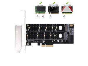Dual M.2 PCIe Adapter, M2 SSD NVME (m key) or SATA (b key) 22110 2280 2260 2242 2230 to PCI-e 3.0 x4 Host Controller Expansion Card with Low Profile Bracket for Desktop PCI Express Slot