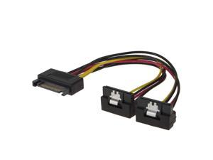 [2-PACK] SATA Splitter Power Cable 8-Inch SATA 15 Pin Male to 2x SATA 15 Pin Down Angle Female Power Splitter Cable