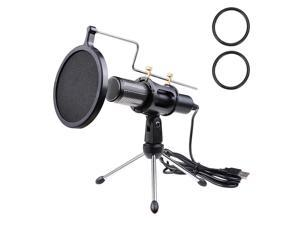 Condenser Microphone Portable Mini Recording Microphone with Tripod Stand USB Plug Play Home Studio Microphones for PC Online Chat Voice Recording Skype Tablets Laptops PC YouTube