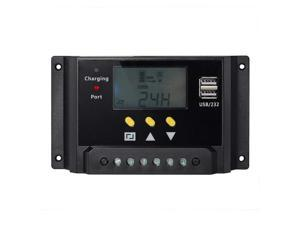 Werleo Solar Charge Controller 30A PWM 12V / 24V 360W / 720W Solar Panel Charging Regulator with LCD Display Dual USB Overload Protection Temperature Compensation