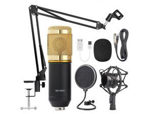 Condenser Microphone Bundle, BM-800 Mic Kit with Adjustable Mic Suspension Scissor Arm, Metal Shock Mount and Double-layer Pop Filter for Studio Recording & Broadcasting