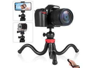 Phone Tripod Flexible Cell Phone Tripod Adjustable Camera Stand Holder with Wireless Remote Control and Universal Clip 360° Rotating Portable Tripod for iPhone Android Phone Sports Camera GoPro