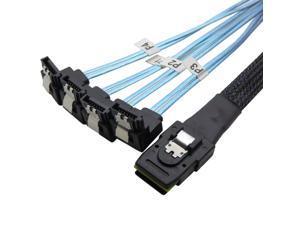 Werleo 1.6ft Mini SAS to 4 SATA Cable sas breakout cable Mini SAS Male SFF-8087 to 4 SATA female Cable Multi-Lane Mini SAS Host Internal Cable to target HDD Hard Drive Splitter Cable