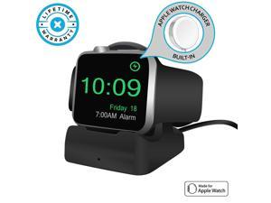 Werleo Wireless Charging Station Dock Charger Stand for Apple Watch Nightstand Mode Compatible with Built-in Magnetic Charging Cable Apple Watch Series 4 Series 3 Series 2 and Series 1 Compatible BLA