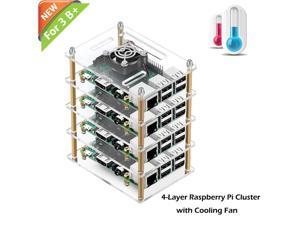 WERLEO Raspberry Pi Cluster Case Raspberry Pi 3 B+ Case with Cooling Fan and Raspberry Pi Heatsink for Raspberry Pi 3 Model B+ Pi 3 B Pi 2 B Pi B+ - 4-Layers
