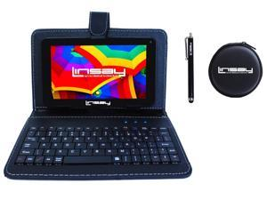 """LINSAY® 7"""" Super Bundle 1024x600 HD Quad Core Dual Camera 2GB ram 16GB Android 10 Tablet with Black Keyboard Earphones and Pen"""