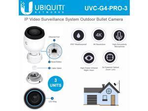 Ubiquiti Networks - UVC-G4-PRO-3 - Ubiquiti UniFi G4-PRO Network Camera - 3 Pack - H.264 - 3840 x 2160 - 3x Optical -
