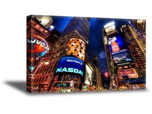 Awkward Styles New York Night View Wall Art NYC Night Cityscape Canvas Decor New York City Lights Wall Art Giant City Poster NY Wall Decal NY Giants NY Souvenir NY Decor Gifts American Nightlife