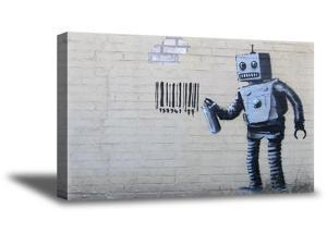 Awkward Styles Banksy Canvas Print Art Robot Prints Banksy Fans Gifts Robot and Barcode New York Street Art Banksy Framed Decor Ready to Hang Picture Banksy Wall Decals Banksy Art for Living Room