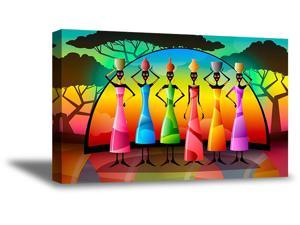 Awkward Styles African Woman Canvas Wall Art Colorful Landscape Home Decor Prints