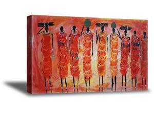 African Woman Canvas African Painting Bathroom Decor African Wall Art Ready to Hang African Colorful Art Decals Made in USA Canvas African Wall Art Picture African Wall Decor Ideas for Office Room