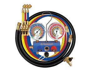 """mastercool 59861 blue r410a, r22, r404a 3way manifold set with 31/8"""" gauges and 60"""" hoses"""