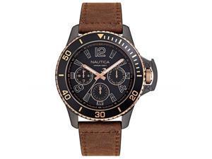 Men's Nautica Bayside Multi 45mm Leather Band Watch NAPBSF918