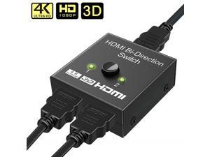 HDMI Bi-Directional Switch 1x2 / 2x1 HDMI Splitter Adapter Supports Ultra HD 4K 1080P 3D HDR HDCP for PS4 Xbox HDTV