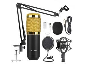 Profession BM800 Condenser Microphone for Computer Karaoke Phantom Power Pop Filter Multi-function Sound Card