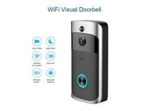 WIFI Video Doorbell, Wireless Smart Doorbell 720P HD Security Camera Intercom Door Real-Time Two-Way Talk and Video, Night Vision, PIR Motion Detection and App Control for IOS and Android