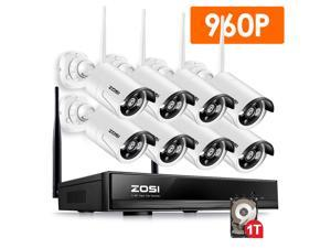 ZOSI 1080p 8CH NVR 8 960p HD IP Outdoor Wireless Security Camera System 1TB HDD