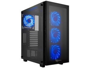 PC Gaming Computer Case Tempered Glass/Steel ATX Mid Tower Blue LED Fans USB 3.0