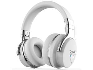 COWIN E7 Active Noise Cancelling Bluetooth Headphones with Microphone Deep Bass Wireless Headphones Over Ear, Comfortable Protein Earpads, 30H Playtime for Travel Work TV Computer Phone - White