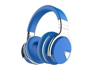 COWIN E7  Bluetooth Headphones with Microphone Deep Bass Wireless Headphones Over Ear, Comfortable Protein Earpads, 30H Playtime for Travel Work TV Computer Phone - Blue