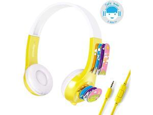 Mimoday Kids Headphones (Upgraded) with 85dB Volume Limited Hearing Protection Durable, Comfortable & in Line Mic, Kids Friendly Safe Food Grade Material, Great for School  for iPad, Fire, All Tablets