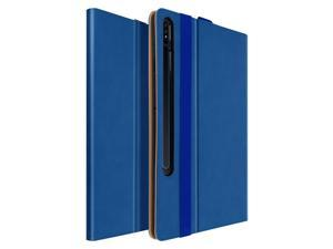 Back cover Samsung Galaxy Tab S7 Plus 12.4 in satin leather stand function Blue
