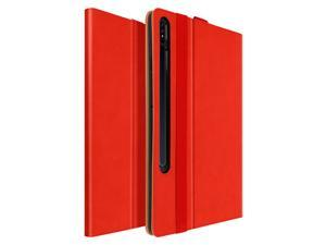 Back cover Samsung Galaxy Tab S7 Plus 12.4 in satin leather stand function Red