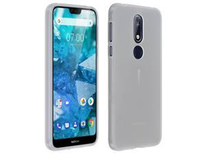 Silicone case, Glossy & matte back cover for Nokia 7.1 - Frosted white