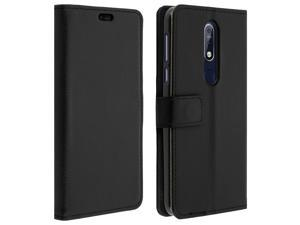 Flip wallet case, slim cover for Nokia 7.1, silicone shell - Black