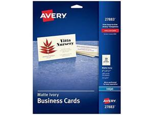 avery printable business cards, inkjet printers, 100 cards, 2 x 3.5, ivory 27883