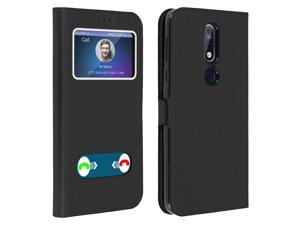 Double window flip standing case for Nokia 7.1, TPU shell - Black