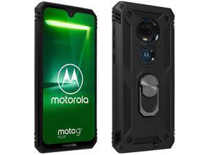 Motorola Moto G7 / G7 Plus Case Bi Material Rigid Soft Magnetic Ring Stand Black