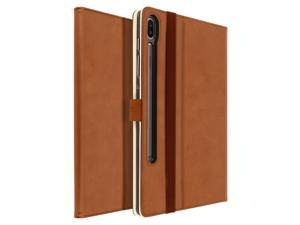 Stand Folio Case with Card Slots for Samsung Galaxy Tab S6 10.5 Satin- Brown