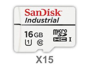 SanDisk 16GB Industrial Grade MLC Micro SDHC Class 10 SDSDQAF3-016G-I Memory Card Bulk (15 Pack)