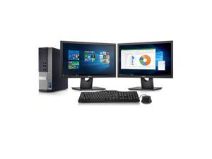 Dell Optiplex 7010 Desktop Computer- Intel Core i7 3.4GHz, 8GB DDR3, New 2TB HDD, Windows 10 Pro 64-Bit, WiFi, DVDRW + 2 New Dell Full HD 24 inch LED Monitor (Renewed)